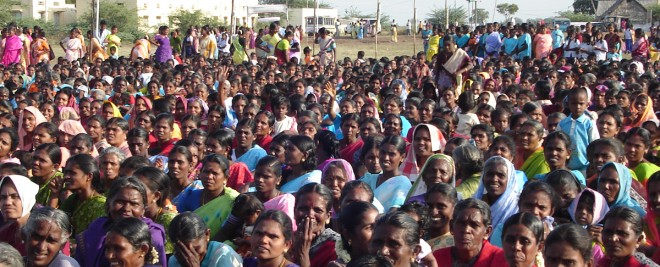 Women gathered for a woman's self help meeting