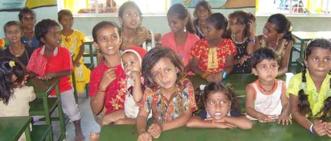 Gypsy children learn in a SCAD classroom