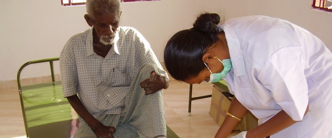 SCAD nurses helping patients with leprosy
