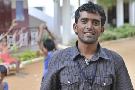 Edwin is the physiotherapist in the centre to rehabilitate children for SCAD called Anbu Illam